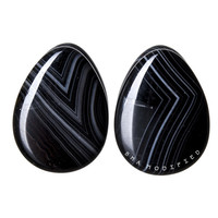 Black Line Agate Stone Teardrop Plugs (8mm-26mm)