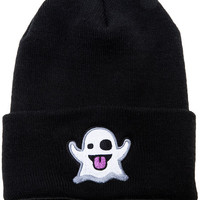 The Im Ghost Emoticon Beanie in Black