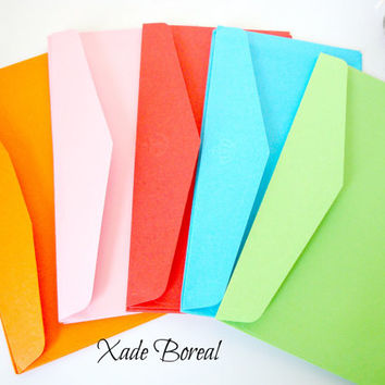 "25 colorful envelopes 7.5""x4"""