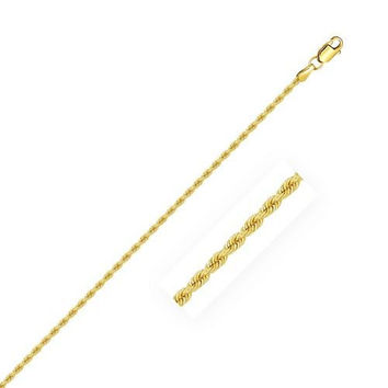 2.0mm 14K Yellow Gold Solid Rope Chain