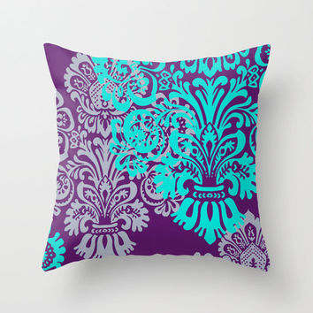 Jewel Tone Damask Pillow Cover, Purple and Teal, Lavender, Tiffany Blue, Romantic, Bold, Throw Pillow, Decorative Pillow Cover, Couch Pillow