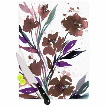 "Ebi Emporium ""Pocket Full Of Posies Brown"" Beige White Cutting Board"