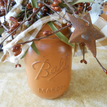 Hand Painted and Distressed Mason Jar Arrangement -Country-Farmhouse-Cottage-Primitive-Lodge-Rag & Berry