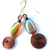 Dizzy Drops: Yellow glass bead earrings, light brown, copper wire swirled, long