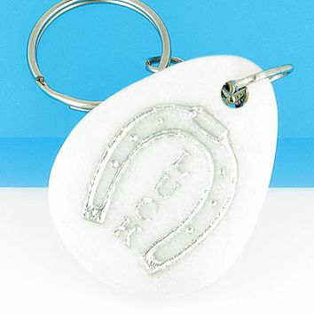 Lucky Horse Shoe Wish Stone White Jade Gemstone Keychain