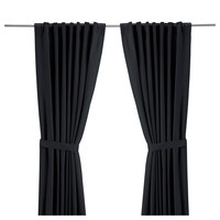 RITVA Curtains with tie-backs, 1 pair - black, 57x118