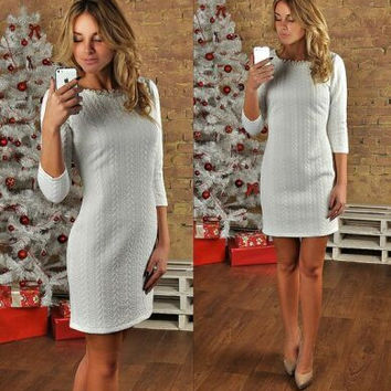 Grey Round Neck  Mini Dress