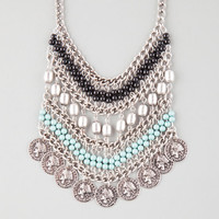 Full Tilt Beaded Coin Bib Necklace Silver One Size For Women 25872014001