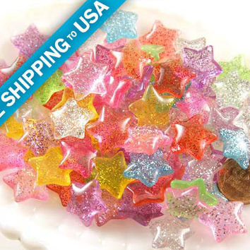 15mm Candy Star Resin Cabochons - 12 pc set