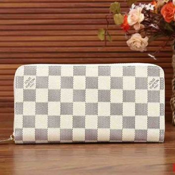 LV Louis Vuitton Classic Women's High Quality Wallet F-LLBPFSH White lattice
