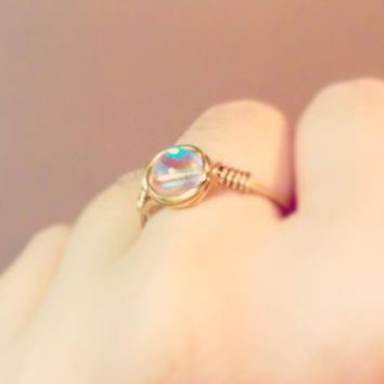 Small Aurora Borealis ring - unique ring - bohemian jewelry - wire wrapped ring