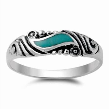 Vintage Style Turquoise Stone Ring 925 Sterling Silver Wave Swirl Turquoise Band Ring