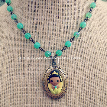 creme de la gems polymer clay girls princess cameo locket necklace - princess and the frog - cremedelagems