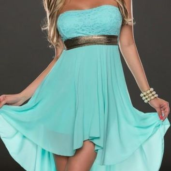 New Women Tiffany Blue Irregular Swallowtail Bandeau Off Shoulder High-low Bridesmaid Party Chiffon Mini Dress