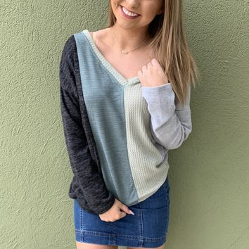 Color Block Top- Sage