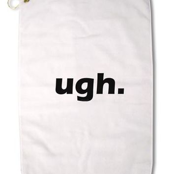 "ugh funny text Premium Cotton Golf Towel - 16"" x 25 by TooLoud"