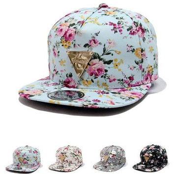 New Fashion Floral Flower Snapback Hip-Hop Hat Flat Peaked Adjustable Baseball Cap [10584518159]
