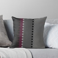 'Modern Burgundy Black Grey Dot Stripes' Throw Pillow by Sheila Wenzel