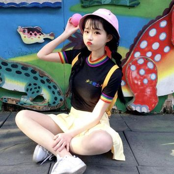 Tops and Tees T-Shirt Korobov Crop Top T-shirt 2018 Chinese Embroidery Top Tee Short Sleeve O-neck Rainbow Stripe  Woman Sweet T Shirts 35248 AT_60_4 AT_60_4