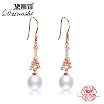 Dainashi high quality rose gold color silver shiny triangle tower pearl drop earrings super value fine brand jewelry for gifts