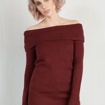 Mid-length 3 Off the Shoulder Timeless Temptation Top in Merlot