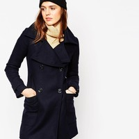 ASOS Military Double Breasted Overcoat with Oversized Collar at asos.com