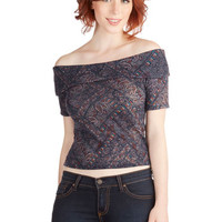 ModCloth Short Length Cropped Band Finale Top in Tile