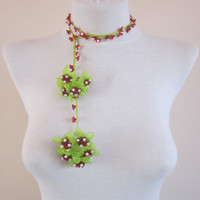 crochet ribbon necklace,Flowers Oya Necklace,Beaded Jewellery