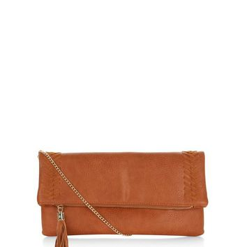 Tan Stitch Trim Clutch