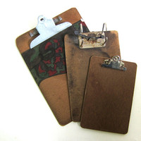 vintage clipboards // picture clip board wall hangings / set of 3