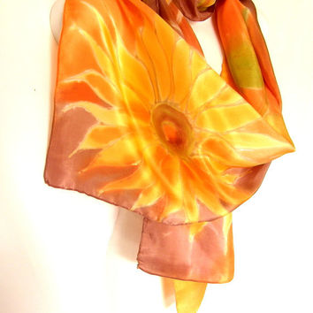 Silk Scarf Hand Painted Sunflowers Gold Orange Sand Brown Rustic