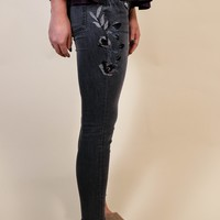 Night Is Young Embroidered Jeans, Black