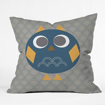 Vy La Geo Owl Solo Blue Throw Pillow