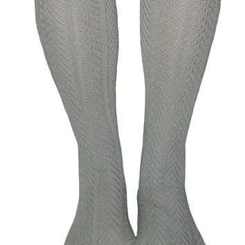Women's Light Grey Chevron Pattern Button Lace Boot Socks, Crochet Lace Button Boot Socks, gift