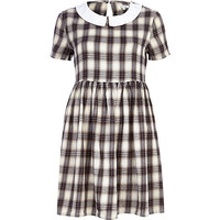 River Island Womens Grey check contrast collar tea dress