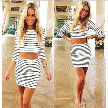 Stripe Print Long Sleeve Cropped Top and High Waisted Mini Skirt Set