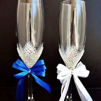 Wedding glasses, Champagne Wedding Flutes, Marine wedding, Brilliant Wedding, Glasses white, Bride and Groom, Hand painted, Set of 2
