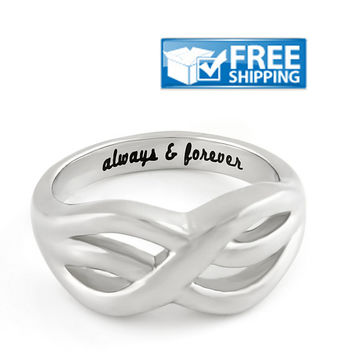 "Love Gift - Double Infinity Symbol Couples Ring Engraved on Inside with ""Always&Forever"", Sizes 6 to 9"