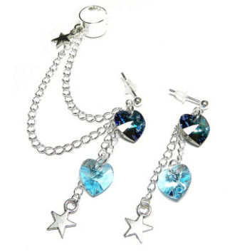Icy Afternoon - Swarovski Crystal Hearts and Stars Ear Cuff Set