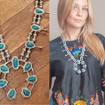 RARE Vintage Faux Turquoise Squash Blossom Necklace | bohemian turquoise Jewelry 70s Navajo Sterling Native Tribal Boho Chunky Naja Necklace