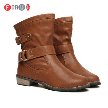 Women Boots female Spring and Autumn New 2015 fashion women's ankle boots flat vintage buckle motorcycle boots