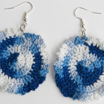 Free Shipping in U.S.A - Blueberry Ice Cream - Circular Crochet Earrings - Blue and White - Big Round Earrings - Earrings for Women Girls