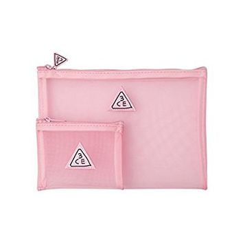 3CE MESH POUCH 2 colors to choose / mesh pouch / vacance pouch / cosmetic pouch (PINK)
