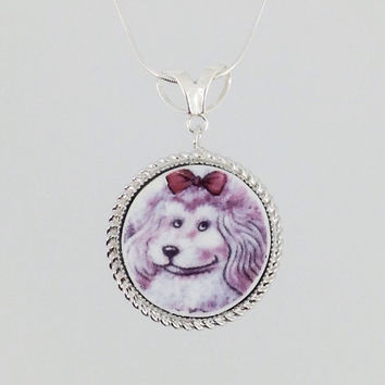 Pink Poodle Jewelry OOAK Sterling Silver Pendant Dog Necklace Broken China Jewelry