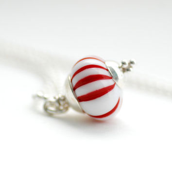 Red and White Necklace, Christmas Jewelry, Peppermint Necklace, Striped Necklace, Stripes, Lucite Jewelry, Candy Cane, Sterling Silver