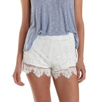 White Scalloped Crochet High-Waisted Shorts by Charlotte Russe
