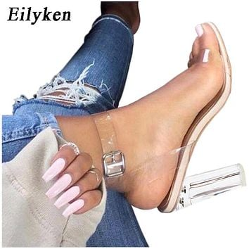 PVC Jelly Sandals  Crystal Leopard Open Toed High Heels Women Transparent Heel Sandals Slippers Discount Pumps