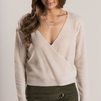 Alicia Cream Surplice Knit Sweater