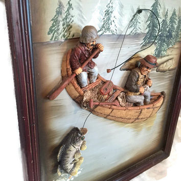 3D Gone Fishing Sign, Nautical Plaque Art for Home or Office, Man Cave Decor