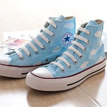 Hand-painted shoes, Converse ,Lovely Floral£¬The blue sky and white clouds ,blove,cute